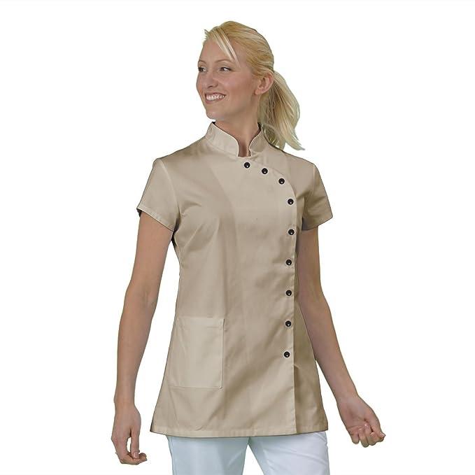 Casaca de trabajo para estética, tipo blusa, tela con acabado inarrugable, fabricación francesa, de manga corta, con botones a presión: Amazon.es: Ropa y ...