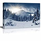 "Wall26 Canvas Prints Wall Art - Beautiful Scenery/Landscape Winter Mountain with Snow Covered Trees Nature Beauty | Modern Wall Decor/ Home Decoration - 24"" x 36"""