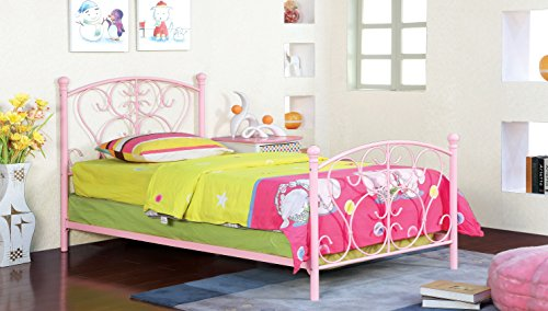 Furniture of America Delia Princess Metal Youth Bed, Pink