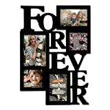 Adeco 5-Opening Decorative Wood ''Forever'' Collage Wall Hanging Picture Frame, One 5 by 7-Inch/ Two 4 by 6-Inch/ Two 4 by 4-Inch, Black