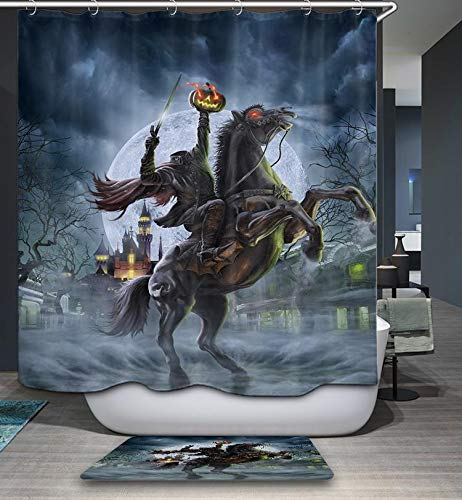 Gothic Halloween Shower Curtain Crazy Horror Pumpkin Headless Horseman Shower Curtain Creepy Themed Bathroom Decor Sets (72
