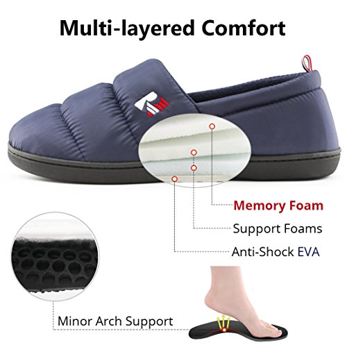 Pictures of RockDove Men's Down Memory Foam Slippers Navy Blue 6