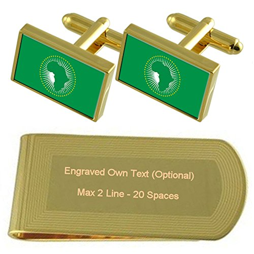 Flag Cufflinks Gold Union Money Clip Gift Engraved African Set tone wIq5A