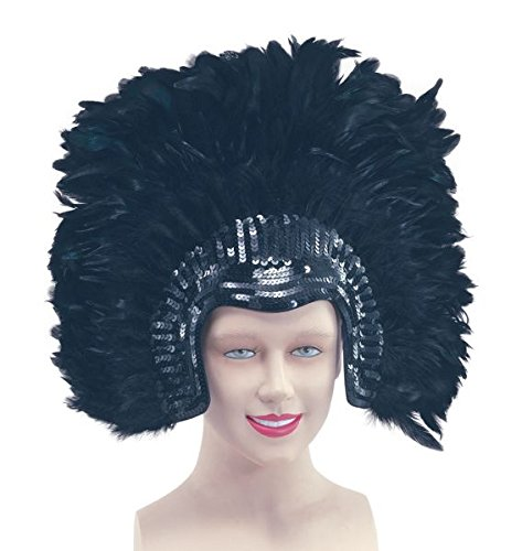 (Bristol Novelty BA638 Feather Headdress Black Deluxe, One Size)