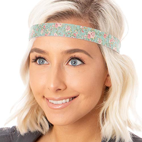Multi Ladies Floral Colored Hat - Hipsy Cute Fashion Adjustable No Slip Hairband Headbands for Women Girls & Teens (Mint Country Floral 1pk)
