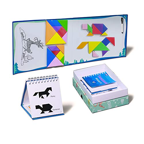 4 Bonus Set - UCMD Kids Tangram Puzzles, Magnetic Brain Training Intelligence Tangram Puzzle for Kids- Bonus 4 Set of Tangrams, 2 Puzzle Books, 1 Magnetic Pen + Carrying Box- Magnetic Tangoes Jigsaw