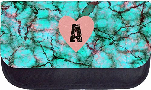 Heart on Turquoise Marbelized Print Rosie Parker Inc. TM Custom Pencil Case - Customize Yours Now!