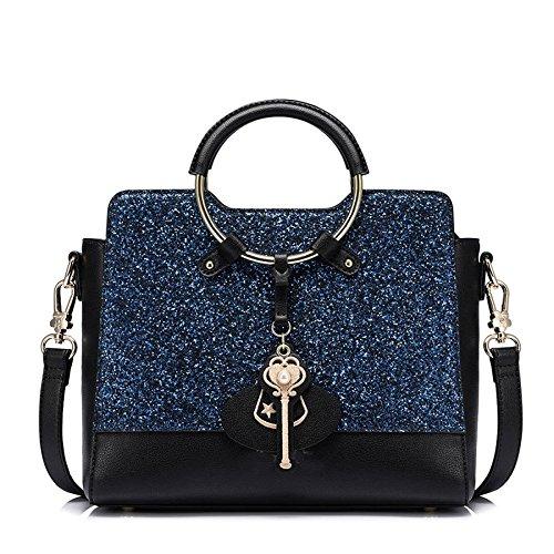 Bolsos de lentejuelas de mujer Bolsos de paquete de anillo de la bolsa de hombro de pu Bolsos de asa superior Bolsas de cuerpo cruzado Blue