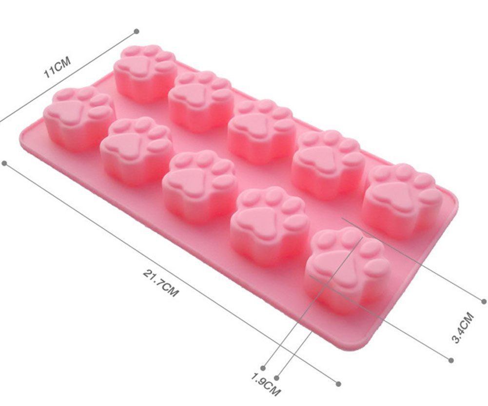 Outflower 10 Cavity Cute Cat Paw Print Mooncake Mold Silicone Fondant Cake Chocolate Mould Baking Pan