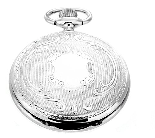 Pierre Laurent Swiss Made Solid Sterling Silver Quartz Pocket Watch 5304 (Date Silver Watch Pocket)