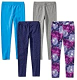 Amazon Brand - Spotted Zebra Big Girls' 4-Pack Leggings, Space, Large (10)