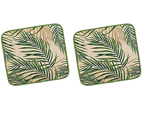 Dish Drying Mat 16-Inch x 18-Inch Palm Fronds in Green (2 mats)