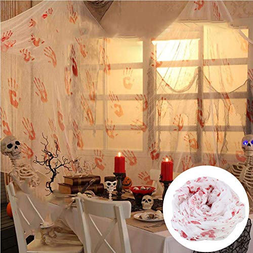 Bloody Handprints Creepy Cloth Spooky Halloween Party Gauze Hanger Decorations for Haunted Houses, Doorways Entryways, Windows and Table Cover, 118 X 62 inches