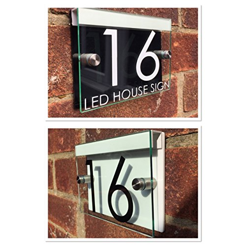 AQUE DOOR NUMBER STREET GLASS ACRYLIC BLACK/WHITE LED HOLDER (Address Sign Holder)