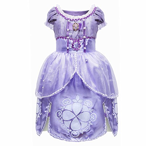 Princess Sofia Costume (MISG Sofia Girls' Belle Princess Dress Halloween Party Fancy Costume(120))