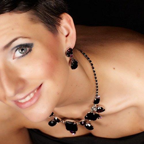 Parure de bijoux collier boucles d'oreilles clips strass noir améthyste rose strass argentŽrhodié