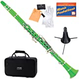 Mendini MCT-G+SD+PB Green ABS B Flat Clarinet with