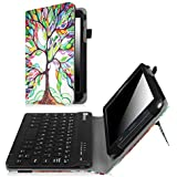 Fintie Keyboard Case for Samsung Galaxy Tab A 7.0, Slim Fit Folio PU Leather Cover with Detachable Magnetical Bluetooth Keyboard for Samsung Galaxy Tab A 7-inch Tablet (SM-T280/T285), Love Tree