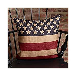 Vintage American Flag Burlap Throw Pillow Cover - 16 x 16 Inches