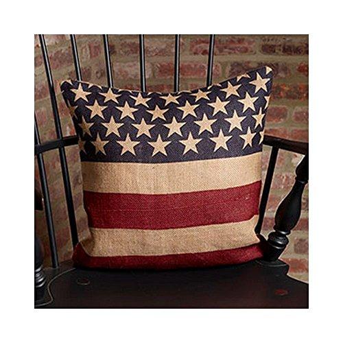 Vintage American Flag Burlap Throw Pillow Cover - 16 x 16
