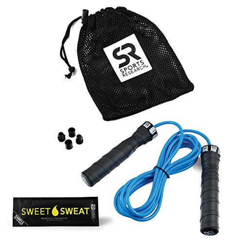 Large Product Image of Sports Research Sweet Sweat Jump Rope Adjustable-Length Rope for Fitness and Speed Training