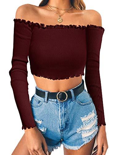 (PRETTODAY Women's Sexy Off Shoulder Crop Tops Long Sleeves Casual Slim Tees)