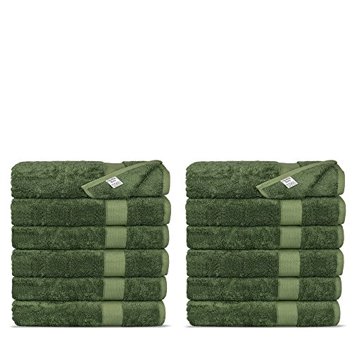 Chakir Turkish Linens Luxury Ultra Soft Bamboo 12-Piece Washcloths - Soft, Absorbent and Eco-Friendly (Moss)