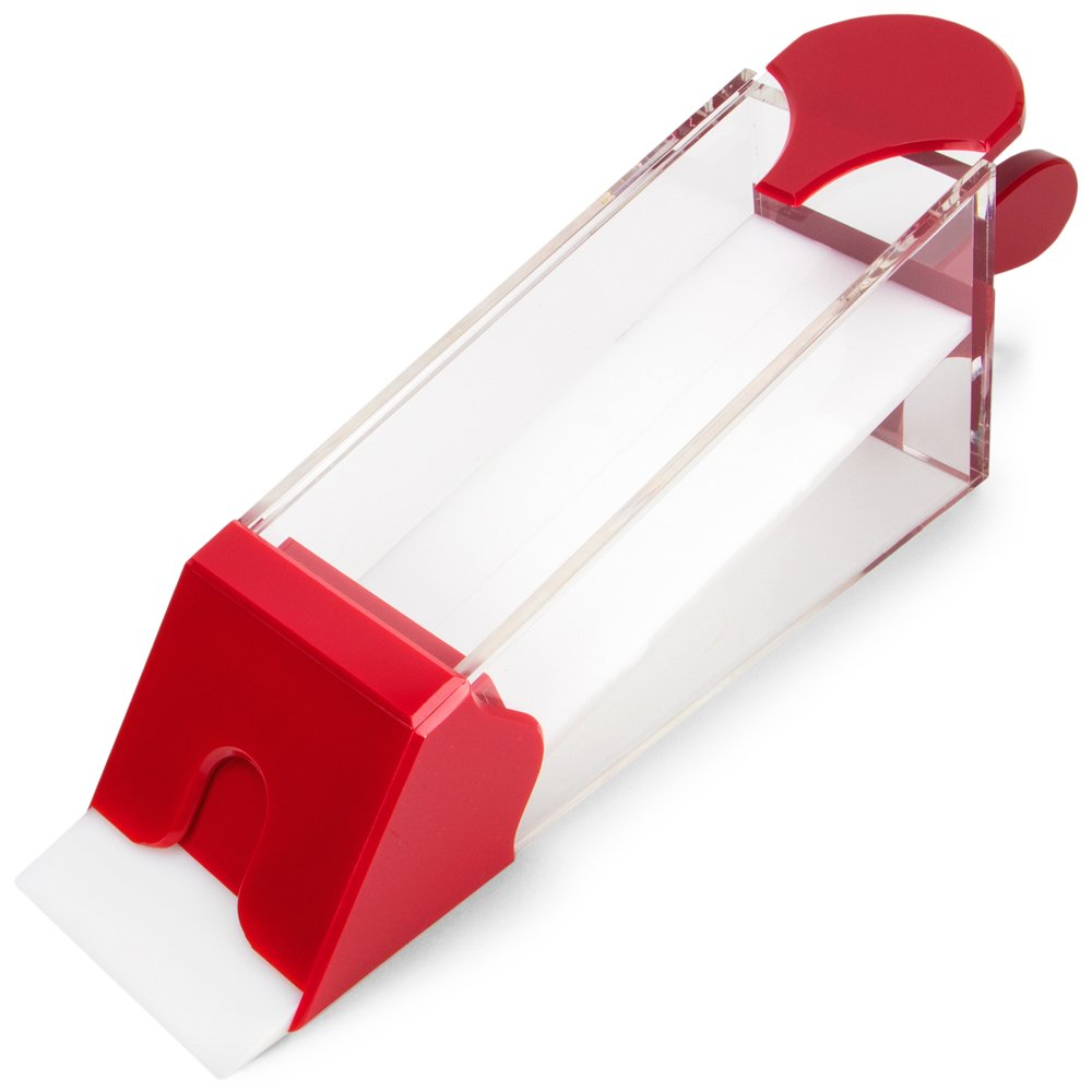 Red Brybelly 8 Deck Acrylic Baccarat Shoe with Handle and Lid