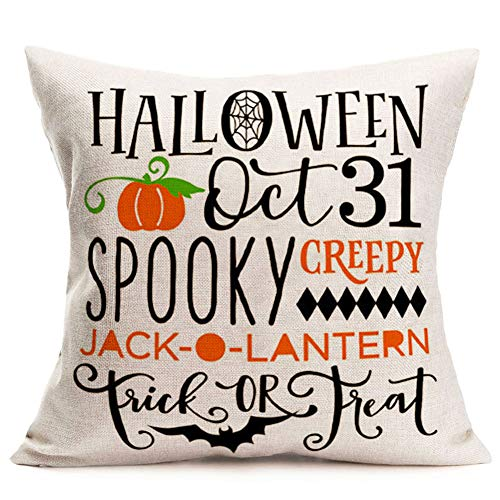 Aremetop Halloween Quote Pillow Covers Spooky Creepy Holiday Greetings Pillows Cotton Linen Trick or Treat Pumpkin Jack-o-Lantern Letters Words Bat Throw Pillow Case Decorative Cushion Cover 18''x18''