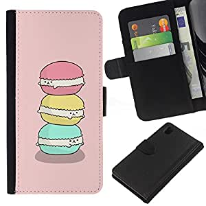 KLONGSHOP // Tirón de la caja Cartera de cuero con ranuras para tarjetas - macarrón dulce panadería hornear rosa - Sony Xperia Z1 L39 //