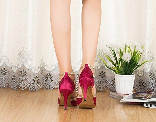 Tda Cm106 Donna Cinturino Alla Caviglia Raso Latino Moderno Samba Rumba Scarpe Da Ballo Di Nozze Rosa