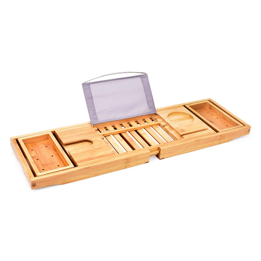 FA-Bath Luxury Multifunction Bamboo Bathtub Caddy Tray with Extending Sides Adjustable Bathtub Frame Shelf Cosmetic Notebook Table Tray Wine Glass Rack Phone Or Tablet Slot 27.56′′8.66′′ (Style : B)