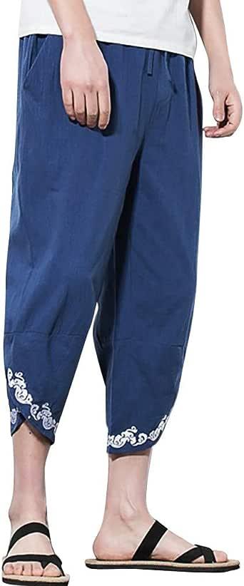 YiYLuuneo Pantalones para Hombre De AlgodóN Recortados Lino ...