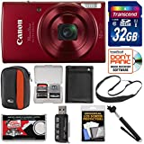 Canon PowerShot Elph 190 is Wi-Fi Digital Camera (Red) 32GB Card + Case + Battery + Selfie Stick + Sling Strap + Kit