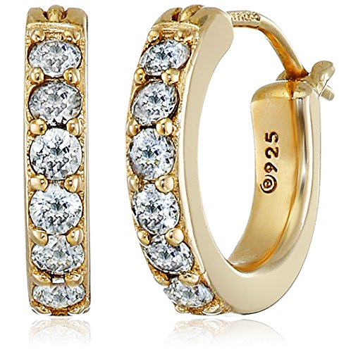 Yellow Gold Plated Sterling  Hoop Earrings set with Round Cut Swarovski Zirconia (3/4 cttw), .5