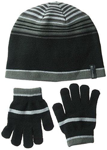 Columbia Big Boys' Hat and Glove Set, Black, One (Boys Hat Glove)