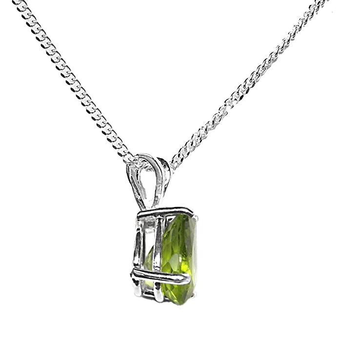8x6mm Pear Parrot Green Genuine Peridot 925 Sterling Silver Pendant + 16 Inch Curb Chain aiuvZ