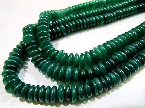 (Natural Graduated Green Onyx Beads/Smooth Rondelle German Cut Green Onyx Beads/6-9mm Size Beads/Strand 8 inches Long/Gemstone Beads by LadoNarayani)