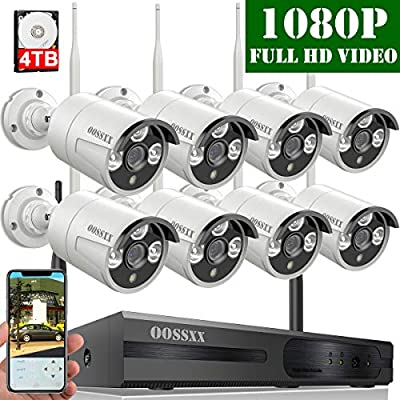 ?2019 Update? OOSSXX 8-Channel HD 1080P Wireless Security Camera System,8Pcs 1080P 2.0 Megapixel Wireless Indoor/Outdoor IR Bullet IP Cameras,P2P,App, HDMI Cord & 4TB HDD Pre-Install