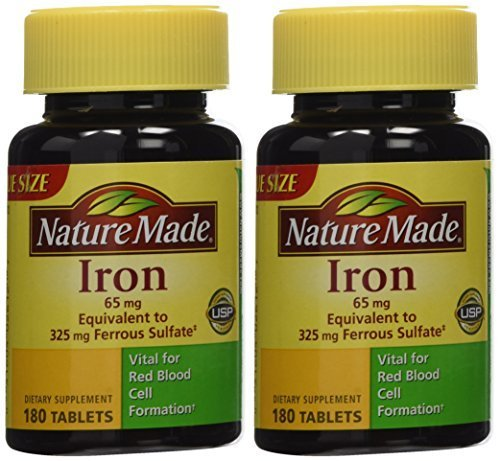 Nature Made Iron 65mg, 180 Tablets (Pack of 2) by Nature ()