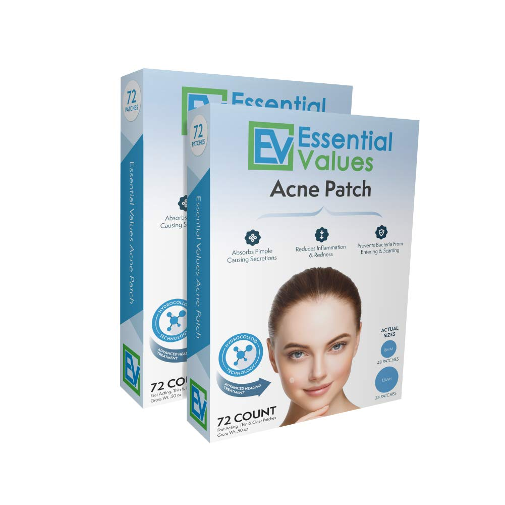 Essential Values (144 count) Hydrocolloid Acne Patch (2PK of 72), A Drug Free Treatment That Fights Pesky Pimple Blemishes, Promotes Healing & Prevents Scarring - Comparable to COSRX & Nexcare Patches by Essential Values