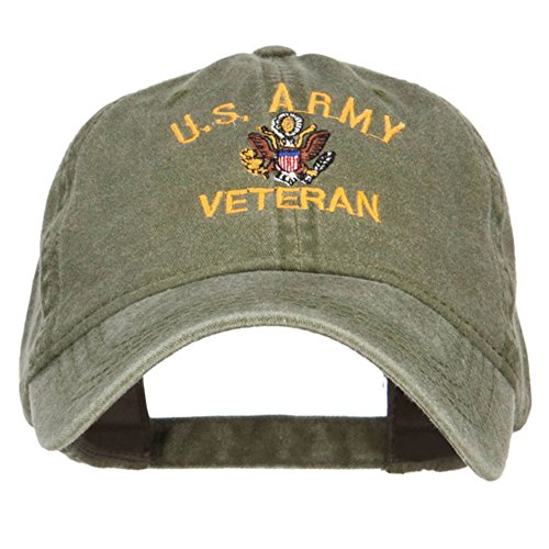 e4Hats.com US Army Veteran Military Embroidered Washed Cap - Olive OSFM (Caps Ball Military Veteran)