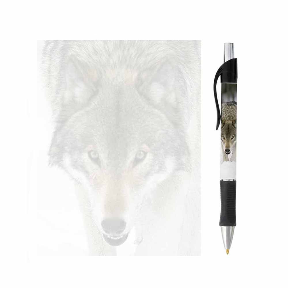 Wolf Face Note Pad and Pen Set - Stationery Gift - Memo Paper - Office School Business Home Supplies