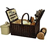 Picnic at Ascot Buckingham Willow Picnic Basket with Service for 4 with Blanket- London Plaid For Sale