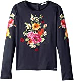 Dolce & Gabbana Kids Girl's Back to School Floral Long Sleeve T-Shirt (Big Kids) Navy 8