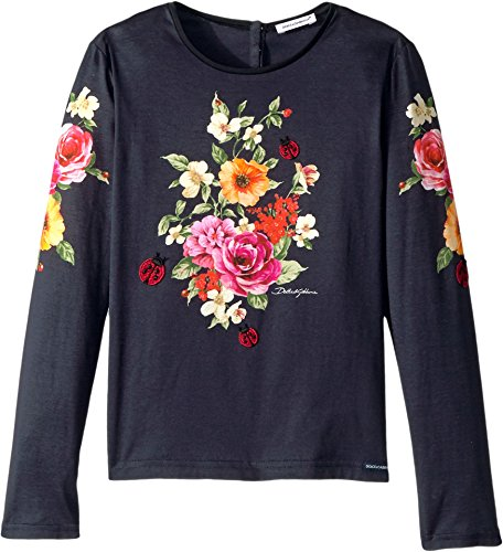 Dolce & Gabbana Kids Girl's Back to School Floral Long Sleeve T-Shirt (Big Kids) Navy 8 by Dolce & Gabbana