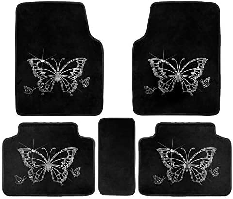 U So Shiny Car Floor Carpet Mats for Women Butterfly Decorations Rhinestone Universal Fit Black Interior Auto Useful Accessories