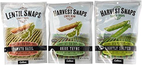 Harvest Snaps Lentil Snaps And Snapea Crisps 3 Flavor Variety Bundle: (1) Lentil Snaps Tomato Basil 3.0 OZ (85g), (1) Snapea Crisps Lightly Salted 3.3 OZ (93g), and (1) Lentil Snaps Onion Thyme 3.0 OZ (85g)(3 Bags Total)