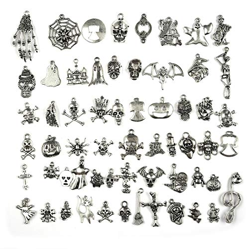 Halloween Charms Antique Silver Hallowmas Collection Craft Supplies Pendants for Jewelry Findings Making 60pcs