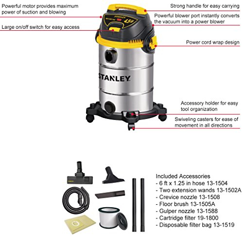 Stanley Wet/Dry Vacuum, 8 Gallon, 4.5 Horsepower, Stainless Steel Tank by Stanley (Image #2)